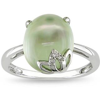 10k White Gold Created Green Amethyst and Diamond Accent Ring