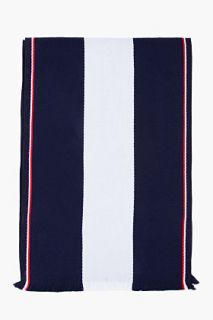 Thom Browne Navy Striped University Scarf for men