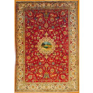 Persian Hand knotted Red/ Ivory Tabriz Wool Rug (8 x 115