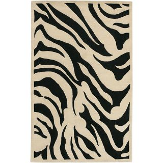 Hand tufted Black/White Zebra Animal Print New Zealand Wool Rug (9 x