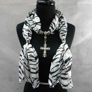 Black and White Zebra Print Fashion Jewelry Scarf With Cross Pendant