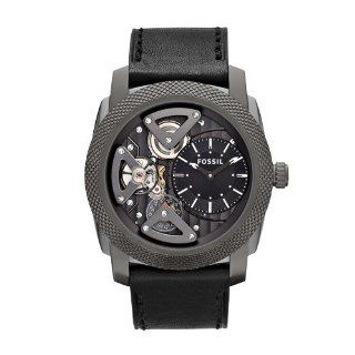 Fossil Machine Twist Leather Watch Grey Watches