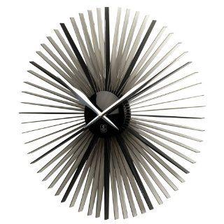 Sunburst Silver Finish Contemporary Wall Clock Home