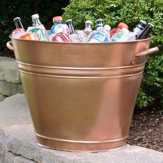Tall Flared Copper Beverage Tub   Antique Copper Patio
