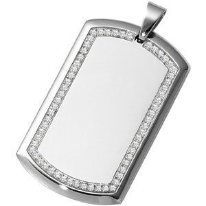 Mens Womens Stainless Steel Dog Tag Pendant Framed with