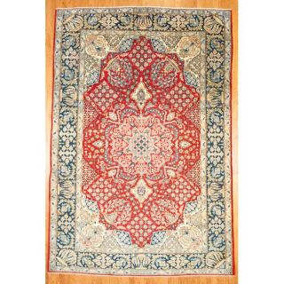 Persian Hand knotted Isfahan Red/ Navy Wool Rug (84 x 125