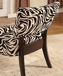 Zebra Print Creme & Black Occasional Chair