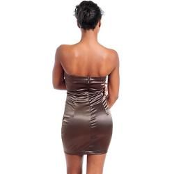 Stanzino Womens Brown Pleated Bodice Strapless Dress