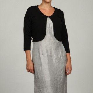 Jessica Howard Womens Plus Size Black 3/4 Sleeve Sweater FINAL SALE