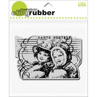 Stampendous Christmas Postcard Pair Cling Rubber Stamp Today $6.28