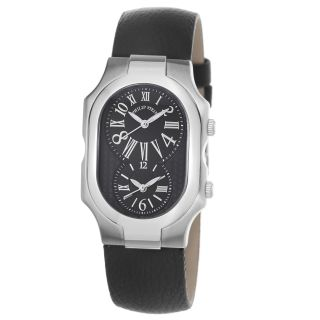 Philip Stein Womens Signature Black Dial Black Leather Strap Watch