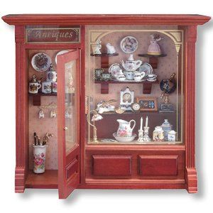 Antique Shop Display w Dollhouse Miniatures Room Box By