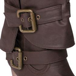 Journee Womens Gossip 2 Buckle Accent Mid calf Boots
