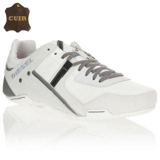 Baskets Trackkers Korbin II en cuir, blanc, gris clair et anthracite