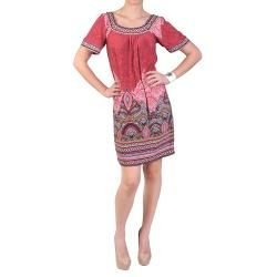 Sangria Womens Short sleeve Scoop Neck Mixed Paisley Dress