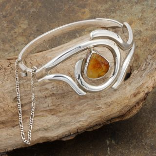 Sterling Silver Yellow Amber Bangle Bracelet (Poland)