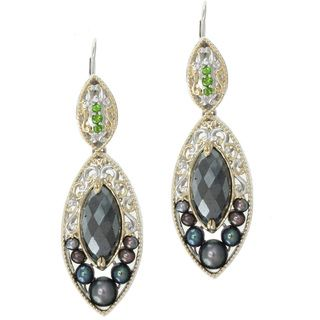 Michael Valitutti Two tone Hematite and Peacock Pearl Earrings