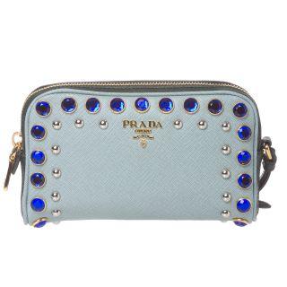 Prada Jeweled Light Blue Leather Wristlet
