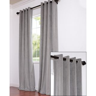 Signature Grommet Grey Velvet 120 Inch Curtain Panel