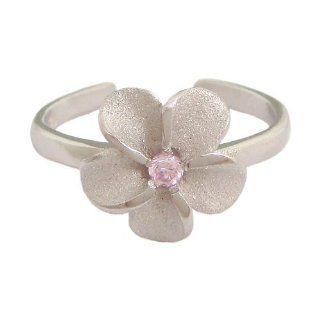 Hawaiian Jewelry Sterling Silver Plumeria Flower Pink CZ
