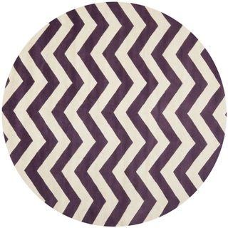 Handmade Chevron Purple/ Ivory Wool Rug (7 Round)