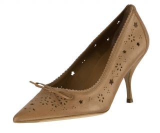 Prada Tan Leather Cut Out Scalloped Pumps