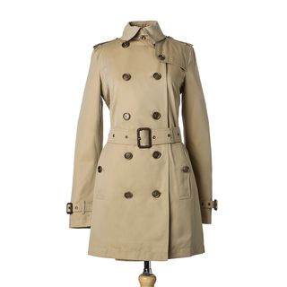Burberry Prorsum Womens Honey Cotton Belted Trench Coat