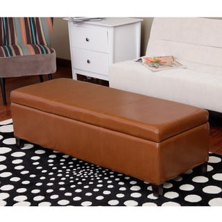 Warehouse of Tiffany Sharon Faux Leather Storage Bench in Toffee