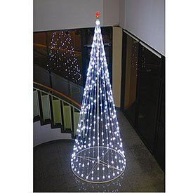 String Christmas Cone Tree White LED (195 Lights)