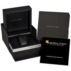 Hamilton Mens Timeless Classic Railroad Black Leather Strap Watch