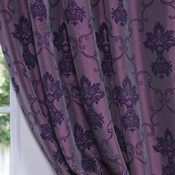 Flocked Fiori Dahlia Faux Silk 120 inch Curtain Panel