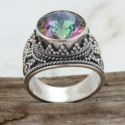 Sterling Silver Round Exotic Fire Quartz Royale Ring (Indonesia