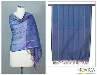 Cotton and Silk Maheshwari Blue Shawl (India)