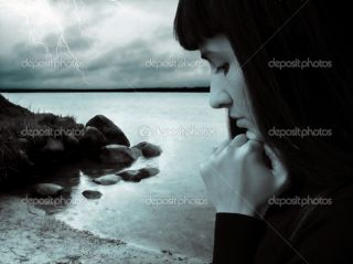 Rain storm and sad girl  Stock Photo © Olga Altunina #1100416