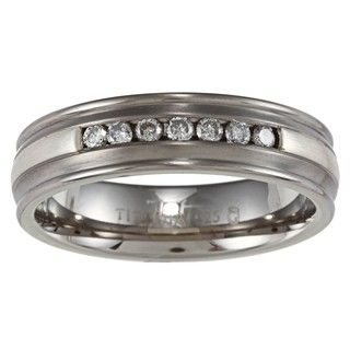 Mens Titanium and Silver Channel 1/4ct TDW Diamond Ring (H I, I3