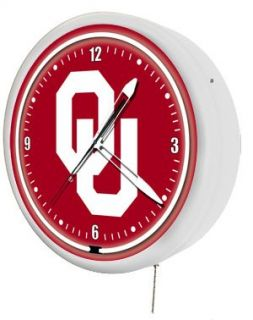 Oklahoma Sooners College 20 Metal encased Neon Clock (NEW