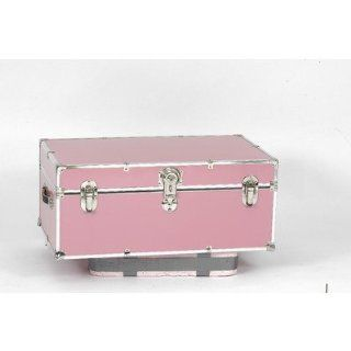 Large Steel Trunk Color Pink, Style With Wheels and Tray