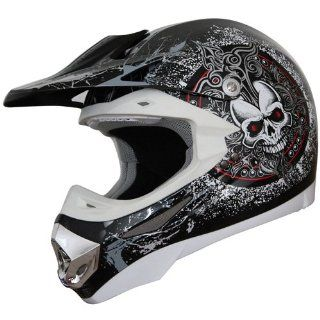 Adult DOT ATV Motocross Helmet 197 skull red/black