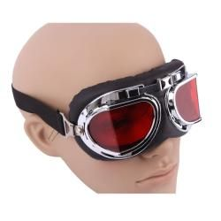 Silverplated Frame and Clear Red Lens Right Angle Motorcycle Goggles