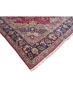 Iranian Tabriz Hand knotted Red/Navy Rug (911 x 133)