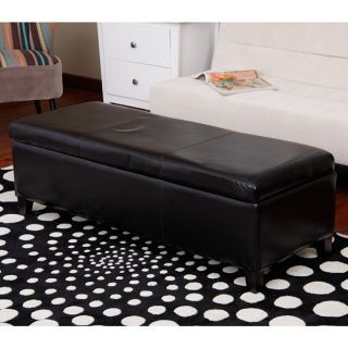 Warehouse of Tiffany Sharon Faux Leather Storage Bench in Black Today