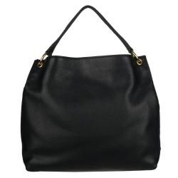 Prada Vitello Daino Black Leather Logo Hobo Bag