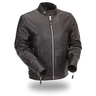 FMC Mens Classic Motorcycle Leather Jacket