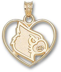 Louisville Cardinals Logo Heart Pendant 14K Gold Jewelry