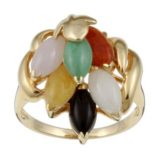 14k Yellow Gold Multi colored Natural Jade Ring (Size 6.5)