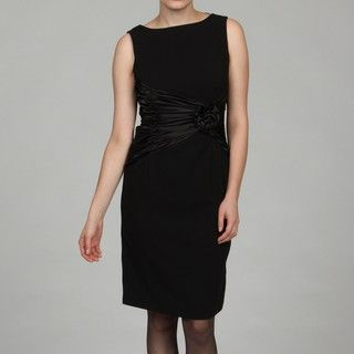 Sandra Darren Womens Black Satin Dress