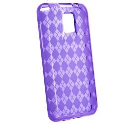 LG T mobile G2X Clear Purple Argyle TPU Rubber Skin Case