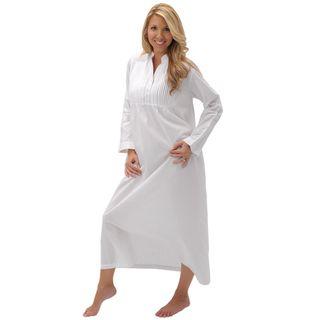 Alexander Del Rossa Womens Guinevere White Cotton Nightgown