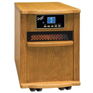 Comfort Zone Oak Wood Cabinet Infared Quartz Heater