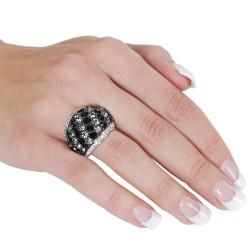 Silvertone Black, Grey, and White Cubic Zirconia Dome Ring